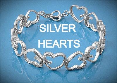 Silver Hearts Bracelet With CZ