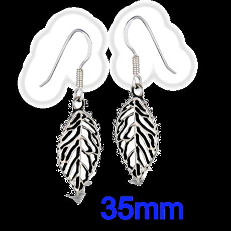 Sterling Silver 35mm Leaf Dangle Earrings
