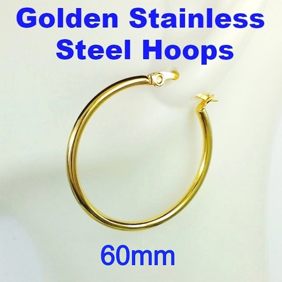 Stainless Steel 2mm x 60mm Golden Hoop Earrings