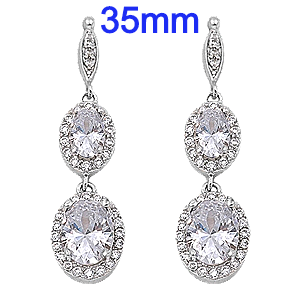 Sterling Silver Dangle Earrings with CZ