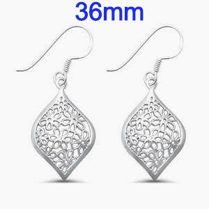 Sterling Silver Marquis Shape Flower Earrings