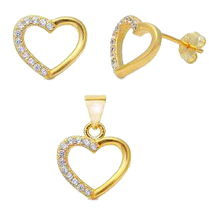 Sterling Silver Trendy Yellow Gold Plated 13mm Heart Earrings And Pendant set