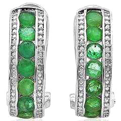 1.692 CARAT GENUINE EMERALD & GENUINE DIAMOND PLATINUM OVER 0.925 STERLING SILVER FRENCH BACK EARRINGS