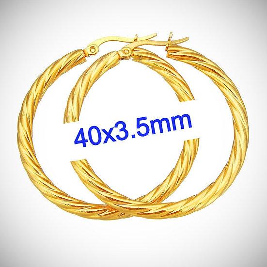Stainless Steel 40x3.5mm Golden Twist Hoop Earrings