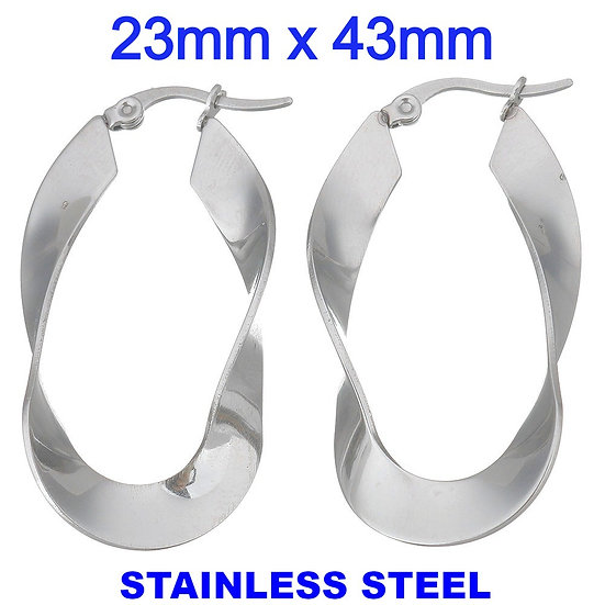 Stainless Steel 43mm Twist Hoop Earrings