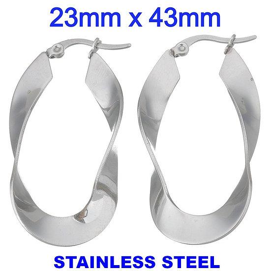 Stainless Steel 43mmTwist Hoop Earrings