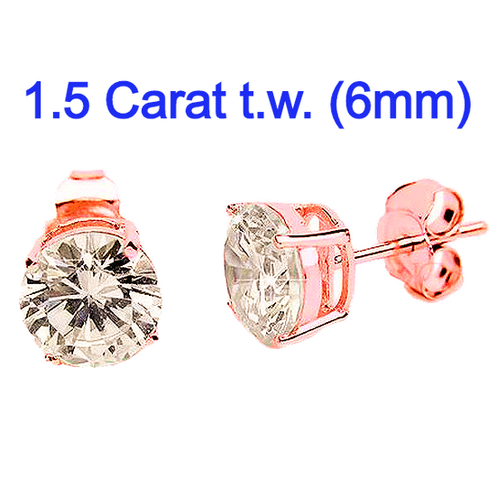 6mmCZ Rose Gold Plated Sterling Silver Simulated DiamondStuds.