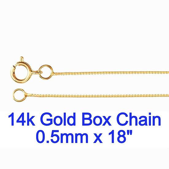 "14K Yellow Gold 0.5mm x 18"" Box Chain"