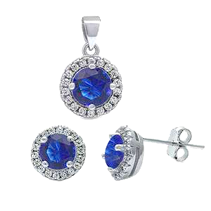 Sterling Silver Sapphire Blue and Clear Cz Halo Earrings and Pendant Set