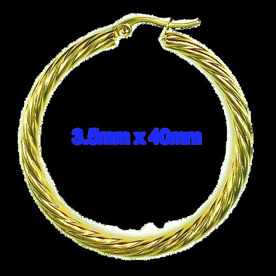 Stainless Steel 40mm Golden Swirl Hoop Earrings