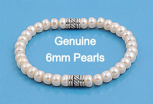 Silver Bracelet with Genuine 6mm Pearls