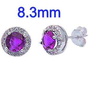 Sterling Silver Halo Amethyst And Clear Cz Stud Earrings