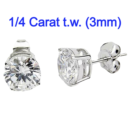 1/4 Carat t.w. 3mm Diamond Simulant Sterling Silver studs