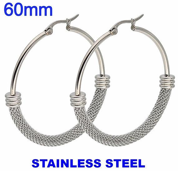 Stainless Steel 60mm Fancy Hoop Earrings