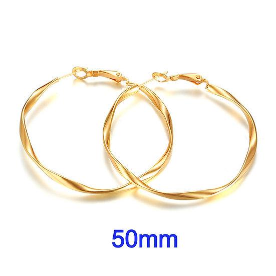 Stainless Steel 50mm Fancy Golden Swirl Hoop Earrings