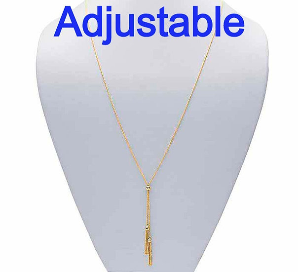 14K Yellow Gold Tasseled Y-Style Adjustable Necklace