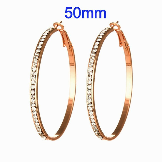 50mm Titanium Rose Gold color Hoop Earrings with micro pave rhinestone's