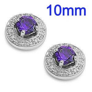 Sterling Silver Amethyst Blue Round Halo CZ Earrings
