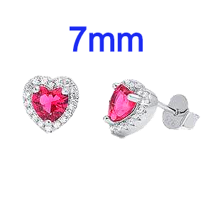 Sterling Silver Heart Shaped Halo Earrings With Ruby Red And Clear CZ