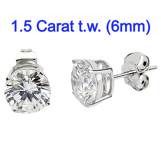 Sterling Silver Round 6mm Simulated Diamond CZ Stud Earrings.