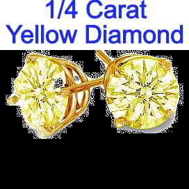0.25 Carats t.w. Yellow Diamond Earrings in 14k Yellow Gold