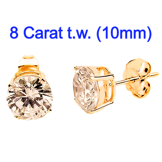 8 Carat 10mm Simulated CZ Diamond StudEarrings.