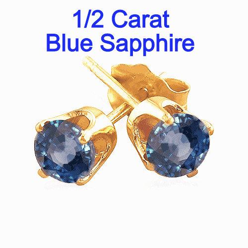 0.50 Carat Blue Sapphire Earrings in 14k Yellow Gold