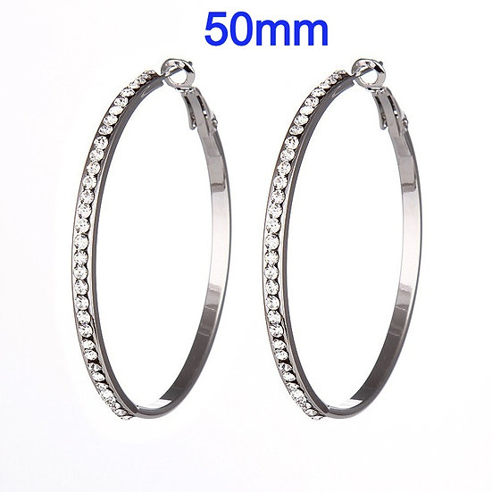 50mm Titanium Hoop Earrings with micro pave rhinestone's