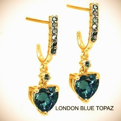 1.82 CT London Blue Topaz With 14 Blue Diamonds set in 10k Yellow Gold