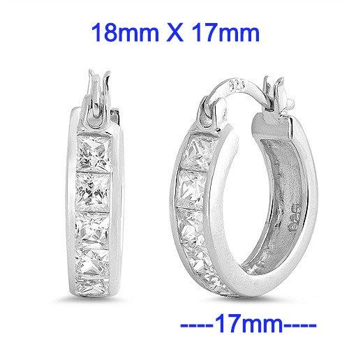 Silver Huggie Earrings 17mm Wide x 18mm Tall