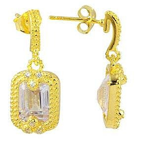 Sterling Silver Gold Plated Clear Rectangle Dangling CZ Earrings