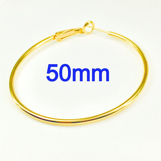 50mm Golden Hoops with Stainless steel Earring hooks