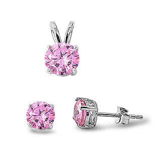 Sterling Silver Fancy Round Pink Simulated Diamond Stud Earrings and Pendant Set