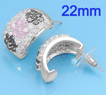 Silver Earrings WithClear, Black and Pink CZ