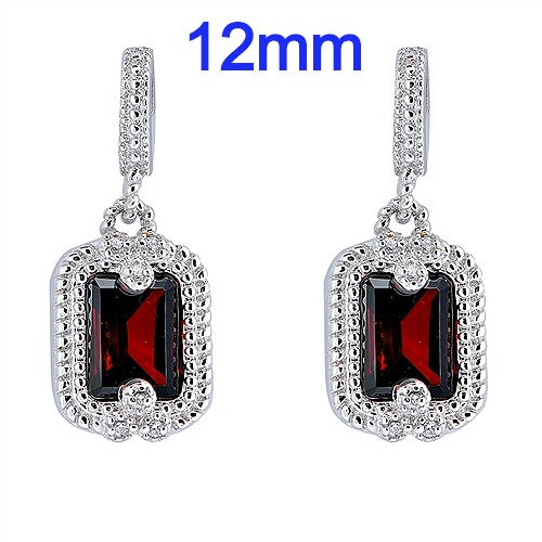 Silver Earrings with Red CZ