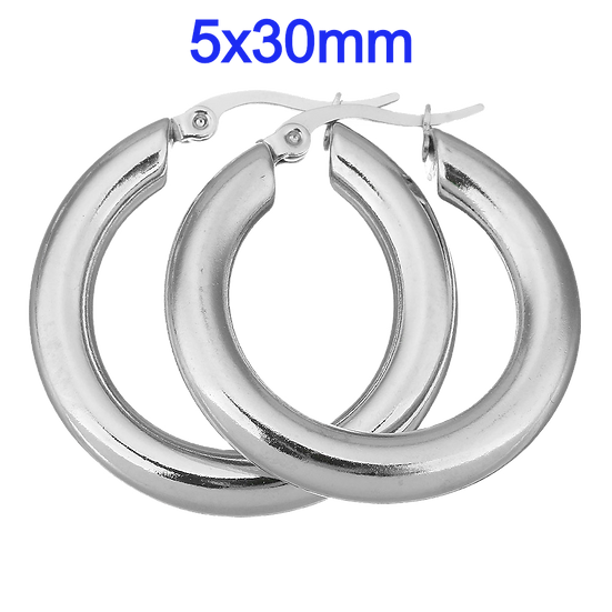 Stainless Steel 5x30mm Hoop Earrings