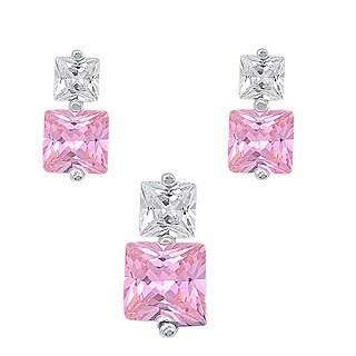 Sterling Silver Luxurious Pink CZ Princess Cut Earrings and Pendant Set
