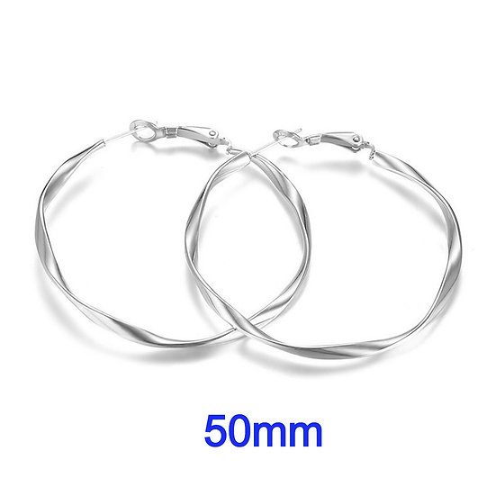 Stainless Steel 50mm Fancy Swirl Hoop Earrings