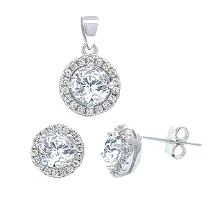 Sterling Silver Halo Fine Cz Earrings And Pendant Set