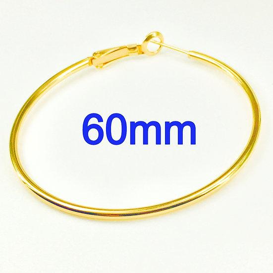 60mm Golden Hoops with Stainless steel Earring hooks