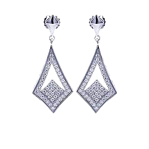 Sterling Silver Rhodium Plated Micro Pave Sharp Marqui Dangle Stud Earrings With CZ Stones