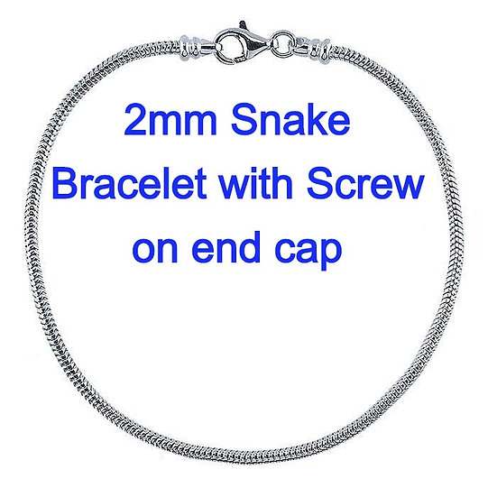 Sterling Silver 2mm Unseamed Snake Chain Bracelet with Threaded End Cap