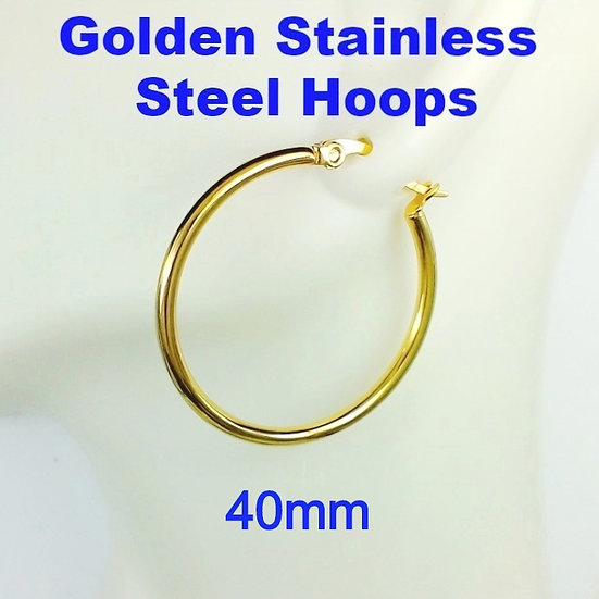 Stainless Steel 2mm x 40mm Golden Hoop Earrings
