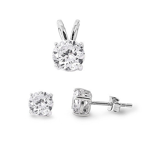 Silver CZ Stud and Pendant Set