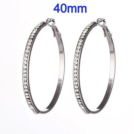 Titanium40mm Hoop Earrings with micro pave rhinestone's