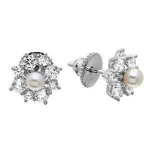 Sterling Silver Rhodium Plated Clear CZ Flower Earrings With Center Fresh Water Pearl