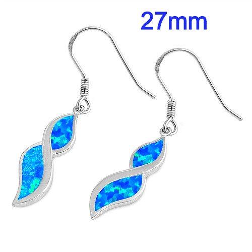 Sterling Silver Blue Lab Opal Earrings