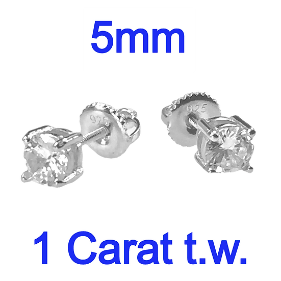 Sterling Silver 1 Carat Round Diamond Simulant Screw Back Stud Earrings