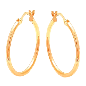 Sterling Silver plated in Yellow Gold round Silver Hoop Earrings