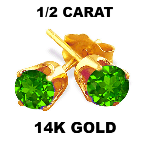 0.50 Carats Chrome Diopside Earrings in 14k Gold